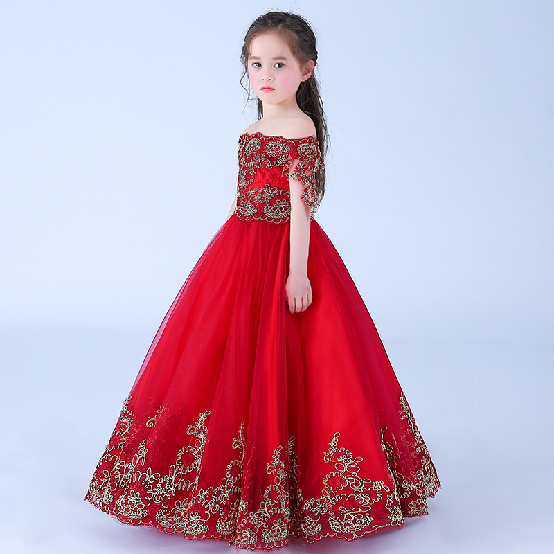 New Wine Red Flower Girl Dress Lace Birthday Party Dress For Girl Princess Dress Floral Ball Gown Long Kids Pageant Gown AA11 2017 summer new lace vest girl dress baby girl princess dress 3 7 age chlidren clothes kids party costume ball gown beige
