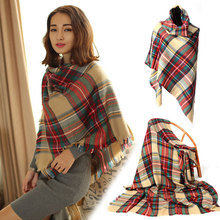 2015 Winter Warm Fashionable Women Long Blanket Oversized Tartan Scarf Wrap Shawl Ladies Plaid Cozy Pashmina Freeshipping C1