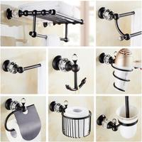 Copper And Crystal Bathroom Accessories Set Antique Towel Bar Glass Shelf Toilet Brush Holder Paper Holder