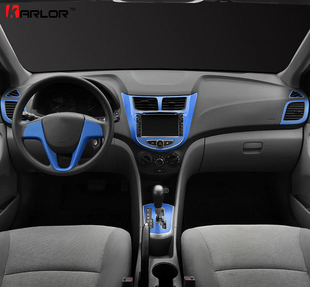 Automobiles central control dashboard panel sticker decal car styling for hyundai solaris verna accent 2011