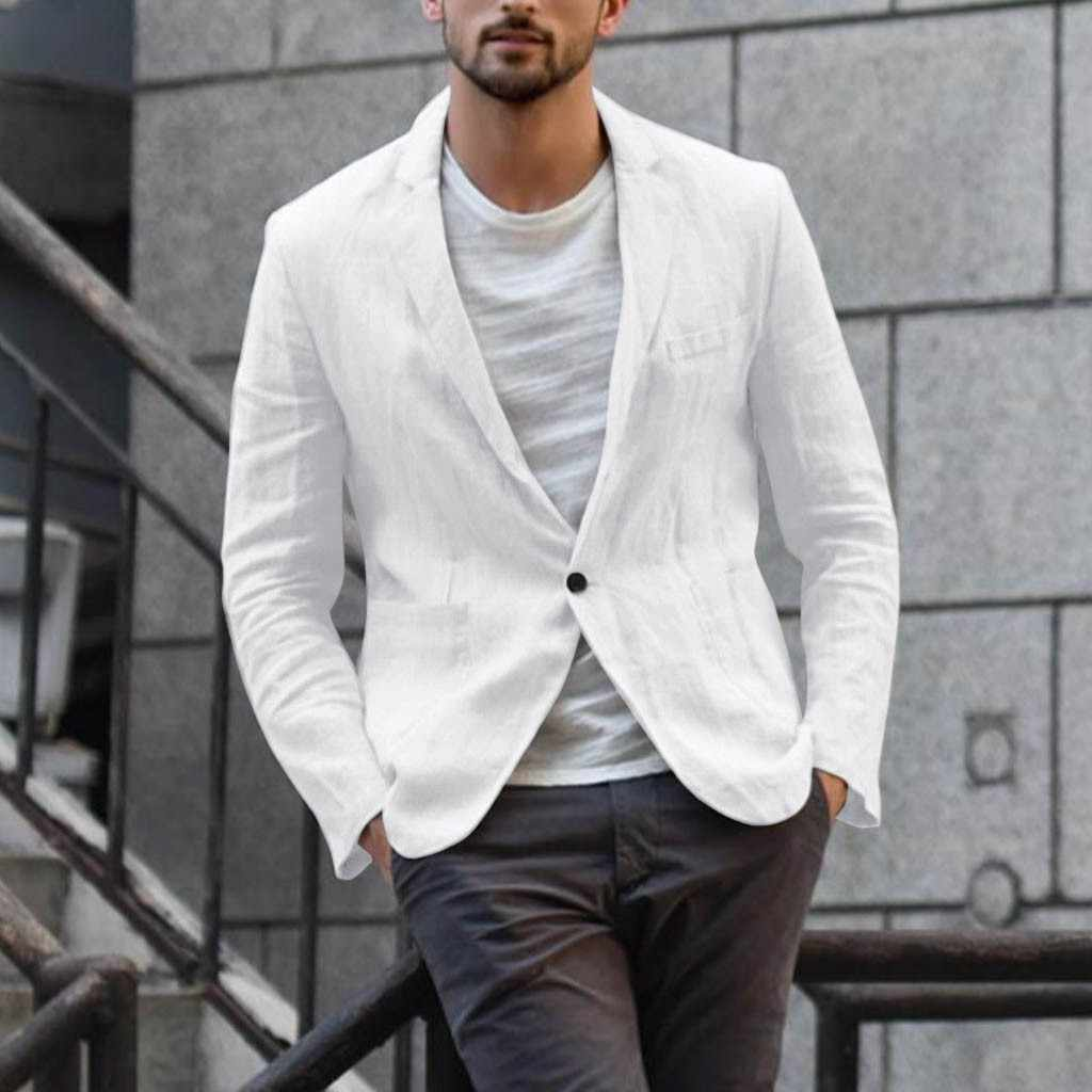 blazer Men's Suits Slim Fit Linen Blend Pocket Solid Long Sleeve Suits Jacket Outwear Men Business Clothes blazer masculino 2019