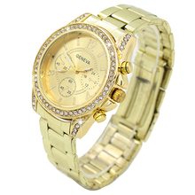 Hot Sales Popular Bling Business Lucury Design Dial Crystal Stainless Steel Analog Quartz Alloy Ladies Wrist Watch  5V8N