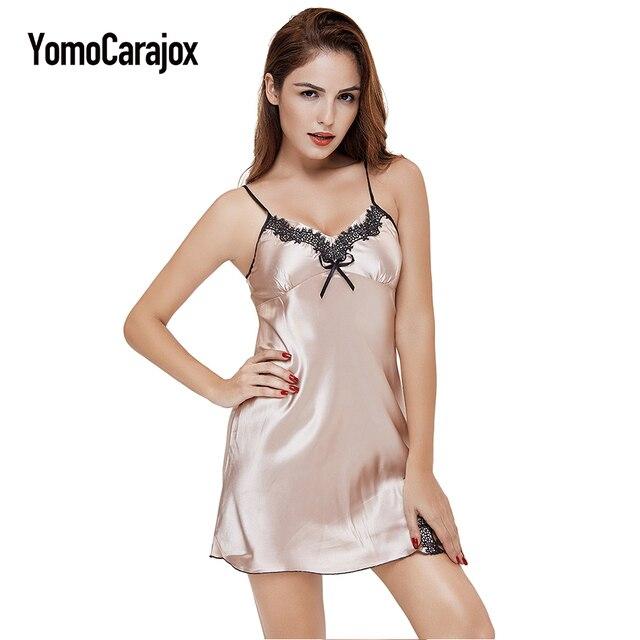 verschiedenes Design absolut stilvoll offizieller Verkauf US $6.65 10% OFF|Sexy Kleid Dessous 2018 Damen Silk Satin Nachthemd Plus  Größe Erotische Spitze nachthemden für frauen V ausschnitt Nachtwäsche in  ...