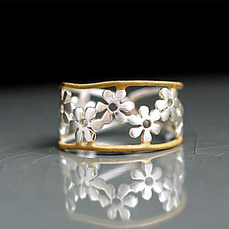Изящное Золотое двухцветное кольцо с эмалированными цветами, кольцо с милыми ромашками, регулируемые женские украшения