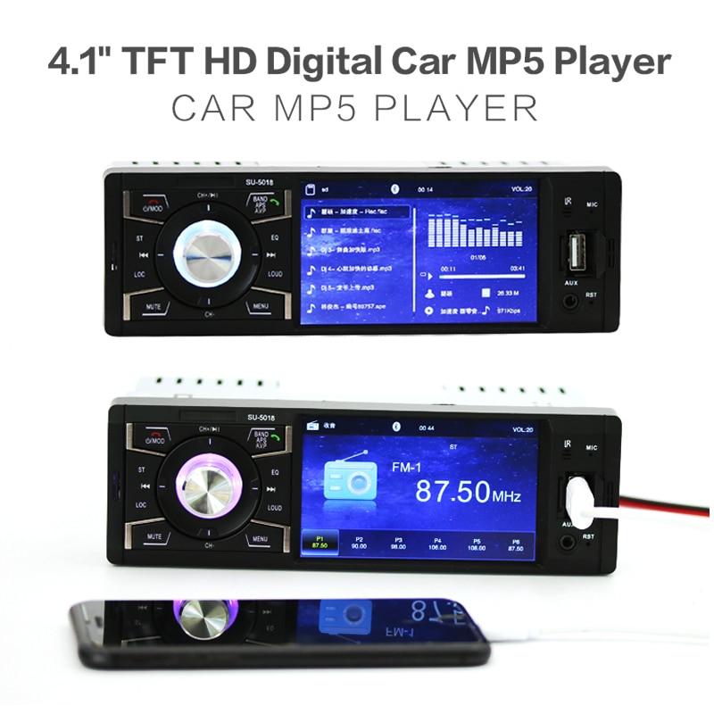 12В 4.1 дюйма 1 авто Аудио Дин Bluetooth HD стерео автомобиль mp3-mp5-плеер Поддержка USB / FM радио / TF карт / AUX в