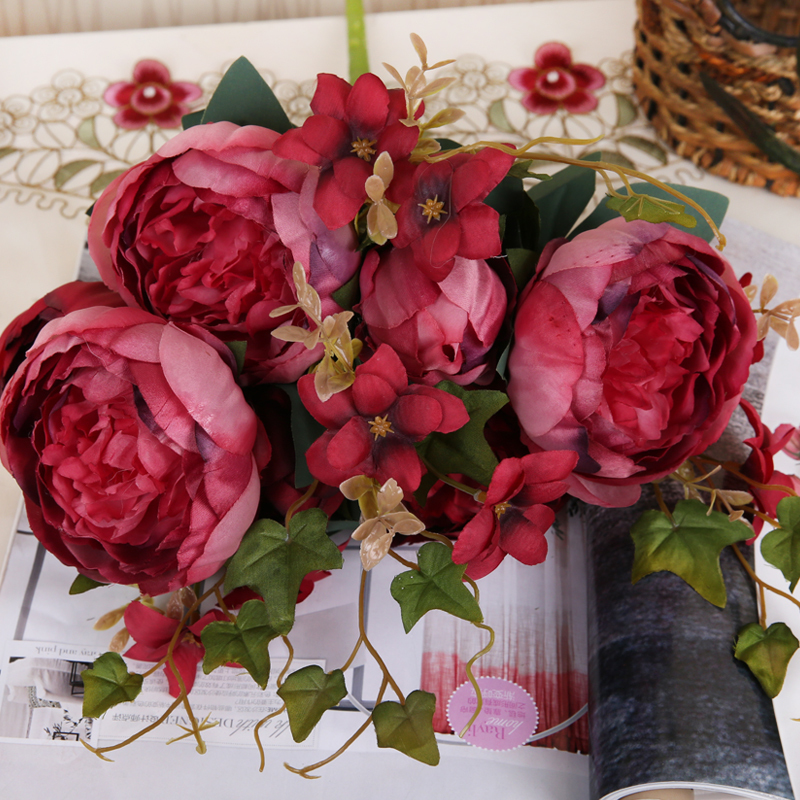 11 heads european wedding peony decor home party silk flowers peony 11 heads european wedding peony decor home party silk flowers peony silk flower 1 bouquet artificial flower peony fake peopny in artificial dried flowers mightylinksfo