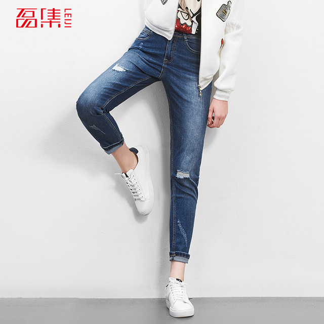 Moda outono de 40-120 KG Disponível Plus Size Mulheres Harem Pants Meados de Cintura Corpo Inteiro Plus Size Algodão Azul Rasgado calças de brim Denim Calças