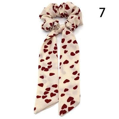 Модный летний шарф «конский хвост», эластичная лента для волос для женщин, бантики для волос, резинки для волос, резинки для волос с цветочным принтом, ленты для волос - Цвет: 007