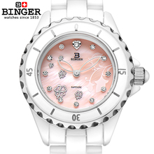Switzerland Binger Space ceramic wristwatches fashion quartz Women's watches Round rhinestone clock Water Resistant BG-0412