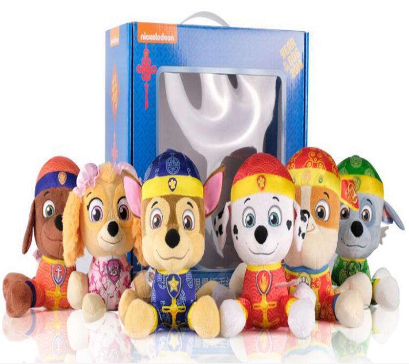 Оригинальный paw patrol плюшевые игрушки, 6 шт./компл., 20 см, chase marshall ruble rocky zuma skye, полный комплект, детские мягкие игрушки, кукла без коробки