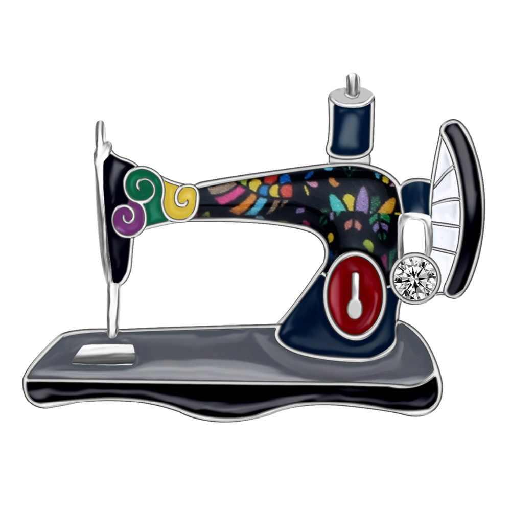 Bonsny Enamel Alloy Rhinestone Naaimachine Broches Pin Sieraden Voor Vrouwen Meisjes Vintage Kleding Sjaal Decoraties Gift Bijoux