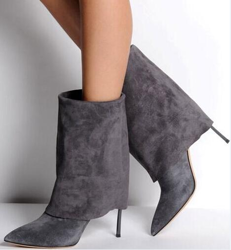 Fashion Gray/Black Suede Leather Women Mid-calf Boots Sexy Point Toe Ladies Spring Boots Blade High Heel Female Party Boots