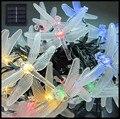 2 set/lote 20 unids Holidy libélula Solar Powered led cordón de iluminación de Navidad Fiesta de Navidad de La Boda decoración de la Secuencia del LED de la lámpara