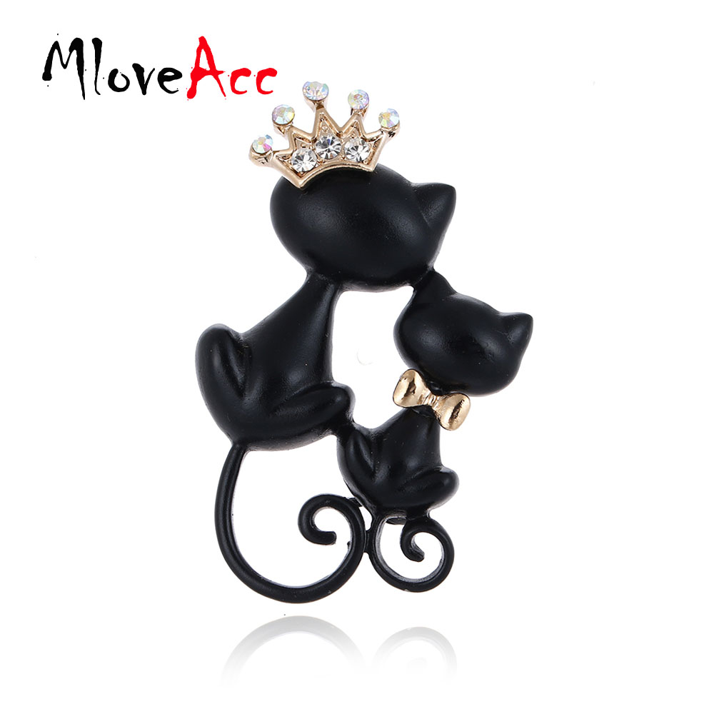 MloveAcc Smooth Black Mother Daughter Cats Brooches Crystal Crown Queen Corsages Hijab Pin Women Hats Scarf Suit Brooch Clothes