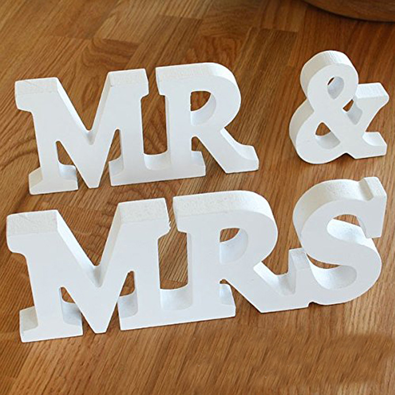 3 pieces a set mr mrs wedding sign big size letters wedding party decoration for