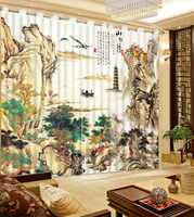 3D Curtain Blackout Shade Window Curtains Chinese Color Ink Landscape Painting Home Bedroom Decoration Fashion Customized