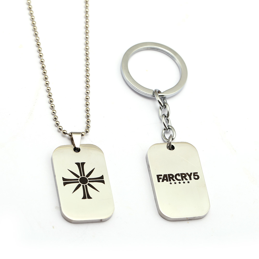 New Game Far Cry 5 Keychain Stainless Steel Dog Tag Cross Charm Necklace Key Holder Metal Key Chains image