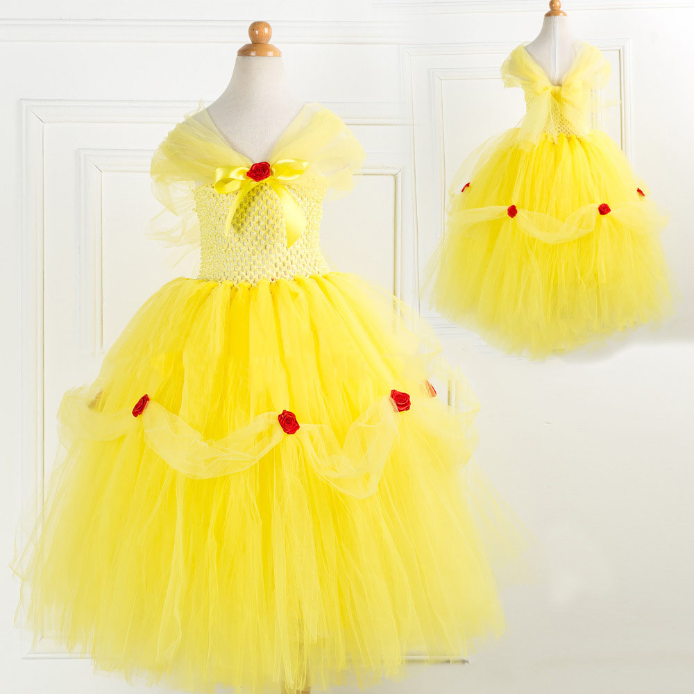 Inspired Beauty and The Beast Princess Dress 2-10y Girl Tutu Dress Cosplay Costume Halloween Baby Girl Belle Kids Costume princess alice inspired tutu dress children knee length character birthday party cosplay tutu dresses kids halloween costume