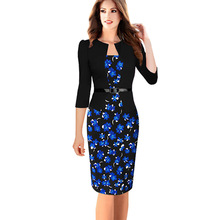 Womens Elegant Faux Twinset Belted Tartan Floral Houndstooth Plaid Print Patchwork Work Business Pencil Sheath Bodycon
