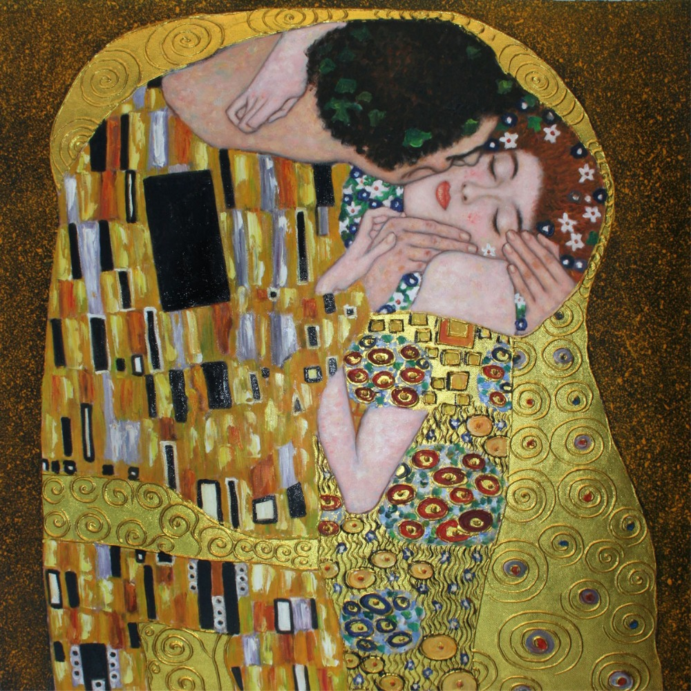 Handpainted Gustav Klimt's Oil Reproductions The Kiss (Luxury Line) Oil Painting Abstraction on Canvas Art Pictures for Deco.
