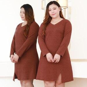 Image 3 - Плюс размер 10XL 8XL 6XL 4XL,Российские размеры 66, 62, 58, 54 женское осеннее трикотажное платье пуловер с v образным вырезом, пуловер полной длины для женщин, платье миди