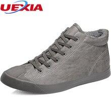 Uexia зимняя обувь Для мужчин плюшевые теплые Брендовая мужская обувь зимние противоскользящие Мех животных зимние Туфли без каблуков Каблучки плюшевые ботильоны повседневная обувь на платформе