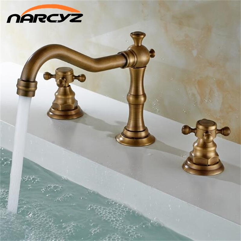 Free Shipping All ceramic antique three piece faucet hot and cold mixed water basin three hole