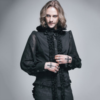 Fashion Unique Steampunk Slim Fit Withe Long Sleeves Men Chiffon Blouses Victorian Gothic Male High Ruffled