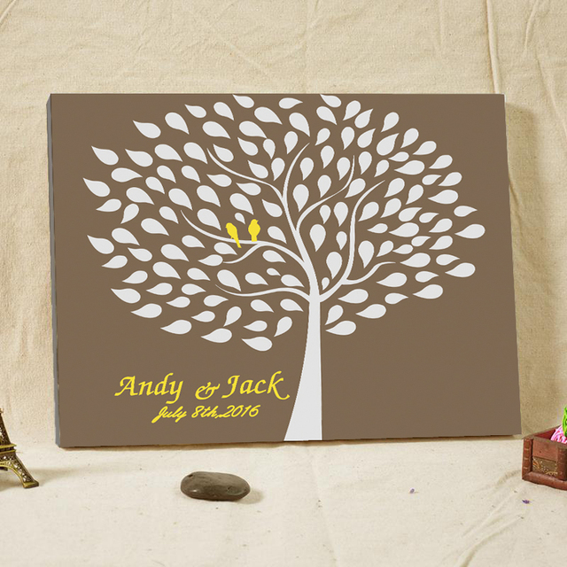 Classic Customized Wedding Tree Guest Book Signature Book Attendance