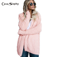 Cova Sophy 2017 Autumn Winter Women Fashion Solid Cardigan Knitted Sweater Long Sleeve Casual Loose Cap