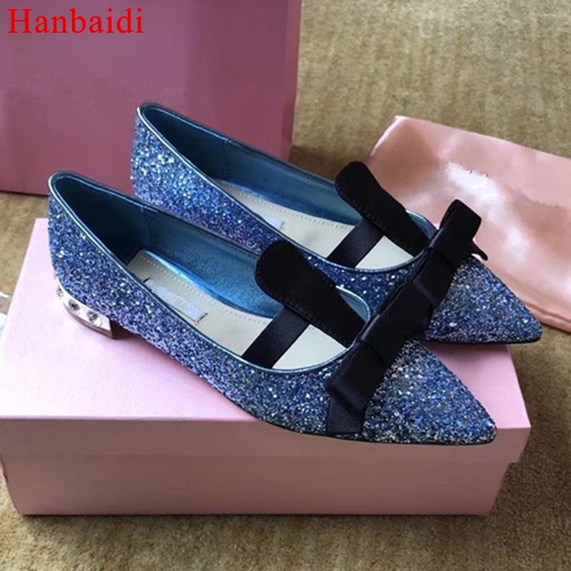 Hanbaidi Candy Color Women Flats Fashion Sequined Cloth Bling Crytal Casual Shoes Runway Pointed Toe Slip On Party Wedding Shoes vintage embroidery women flats chinese floral canvas embroidered shoes national old beijing cloth single dance soft flats
