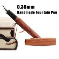 Portable Handmade Redwood Fountain Pen Set Extra Fine Nib Fountain Pen 0 38mm Writing Gift For