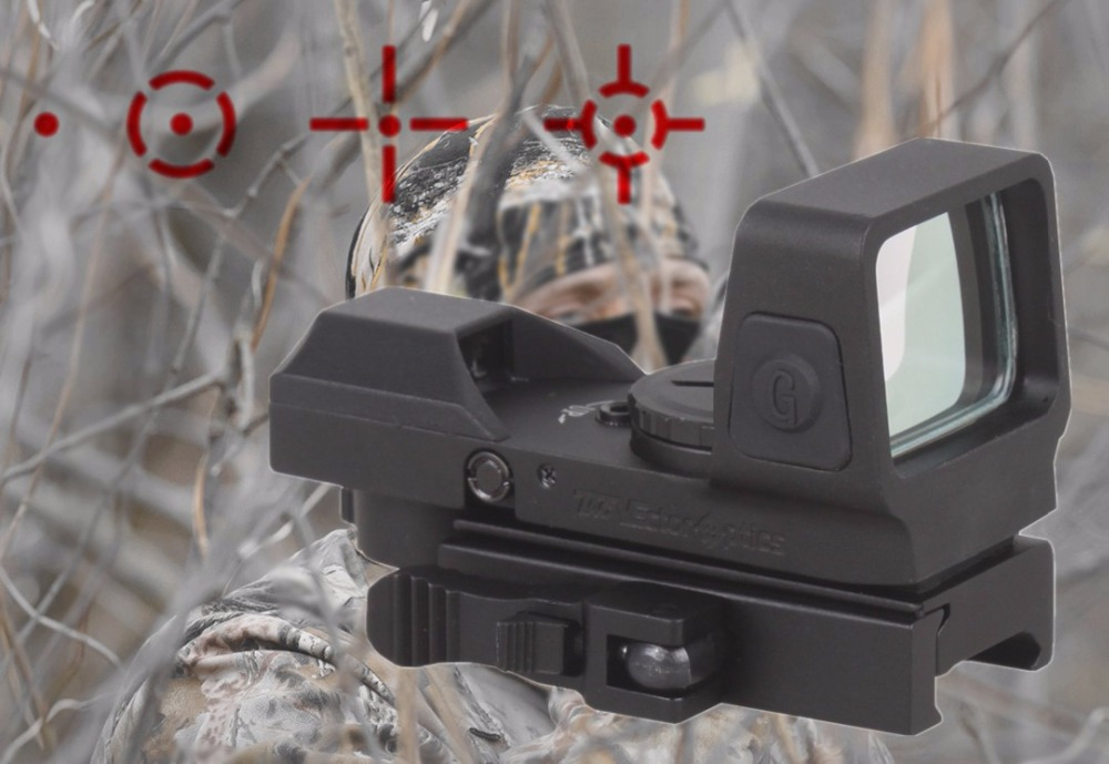 Vector Optics 1x25x34 Hunting 4 Reticle Green Red Dot Sight with Quick Release Mount fit 21mm Picatinny Weaver Rail Shotgun AK47 vector optics tempest 1x35 multi reticle tactical red dot scope mil spec matte finish fit picatinny rail low for night vision