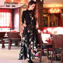 2017 spring and summer women's expansion bottom one-piece dress print elegant slim elegant full dress british style long dress