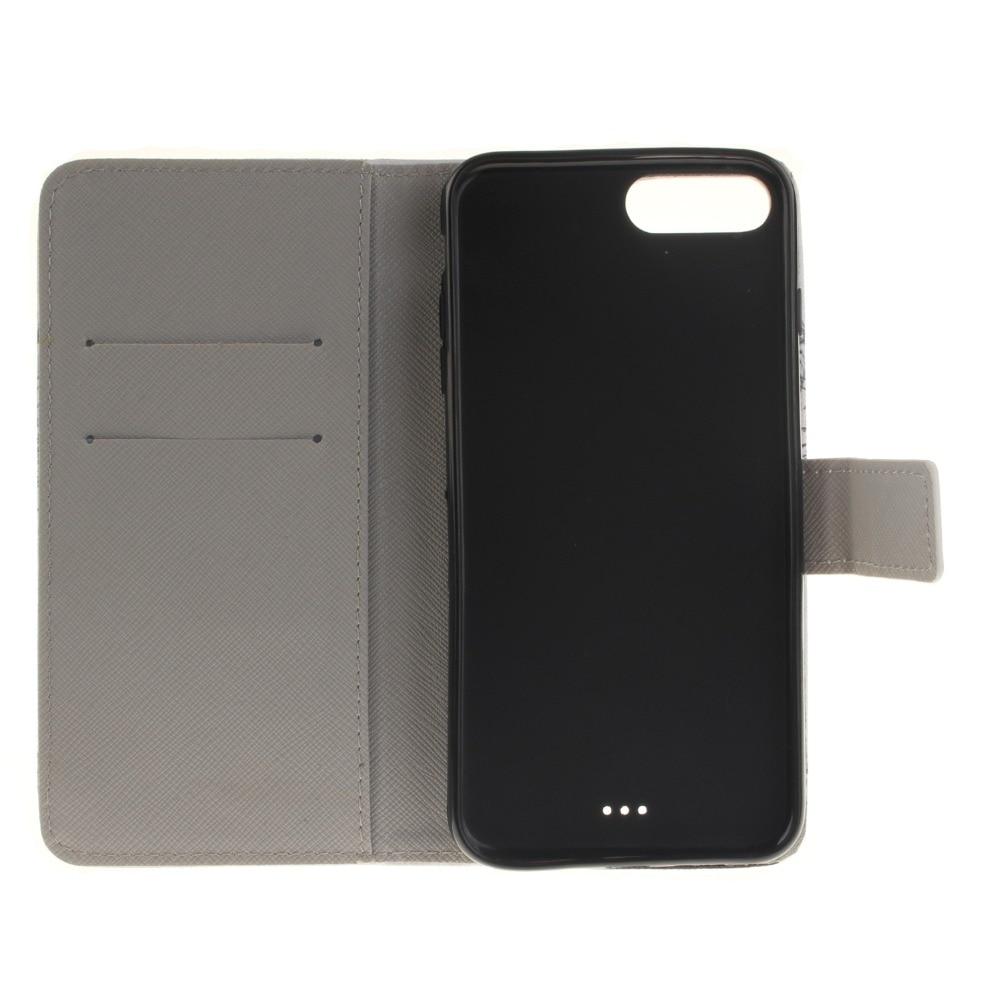 Para Iphone 7 Plus Cute Cartoon Lovers Totem Formula Leather Wallet - Accesorios y repuestos para celulares - foto 6