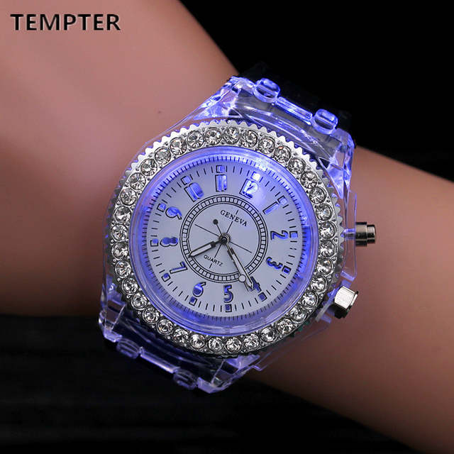 07469a554 Silicone LED Luminous Fashion Ladies Outdoor Watch Women's Men colorful  Sports WristWatches Men Watch Clocks Relogios Masculino -in Women's Watches  from ...