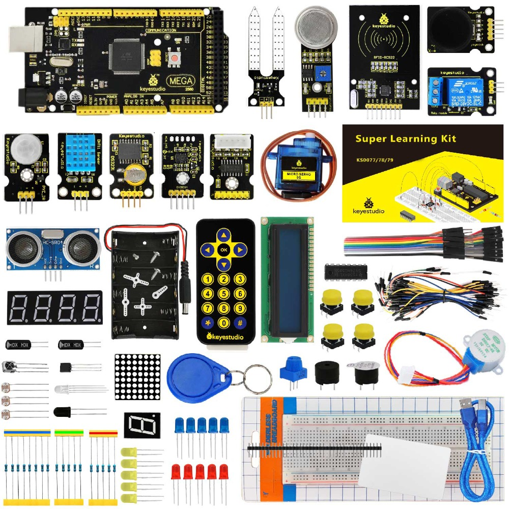 KS0079 keyestudio Супер Starter Kit/обучения комплект с Mega2560R3 для Arduino проект + PDF (онлайн) + 32 проектов + подарочная коробка