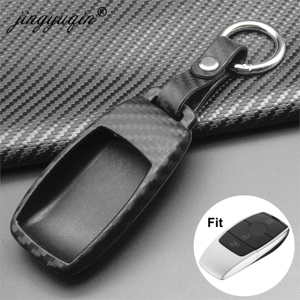 Jingyuqin Carbon Silicone Car Key Cover Soft For Mercedes Benz 2017 E Class W213 2018 S Class Key Case Bag Protect Car Styling