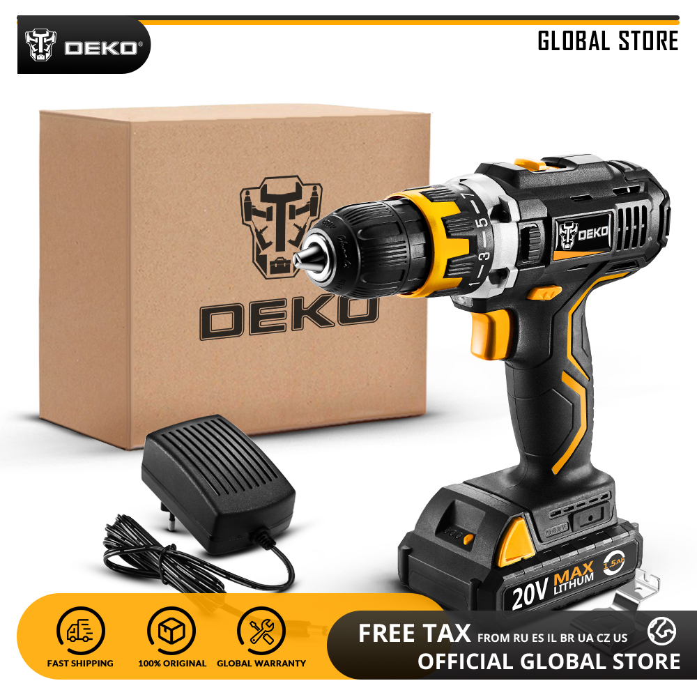 DEKO GCD20DU2 20V MAX Li-ion Battery Power Tool Variable Speed Electric Screwdriver With LED Light Cordless Drill Standard Set
