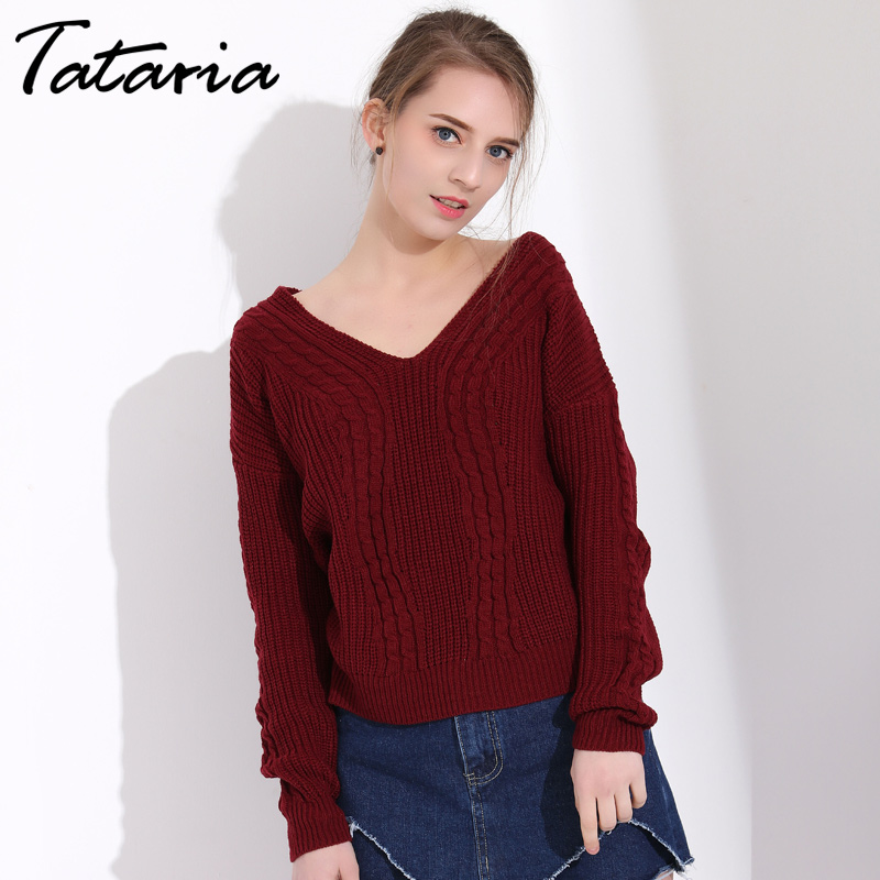 Tataria Ladies Jumpers Pink Winter Sweater Women Long Sleeve V Neck Knitted Pullover Sli ...
