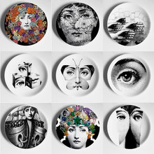 Modern Fornasetti Hanging Wall Plates Porcelain Decorative Plate Table Ornaments Ceramic Gifts for Wedding Birthday Housewarming
