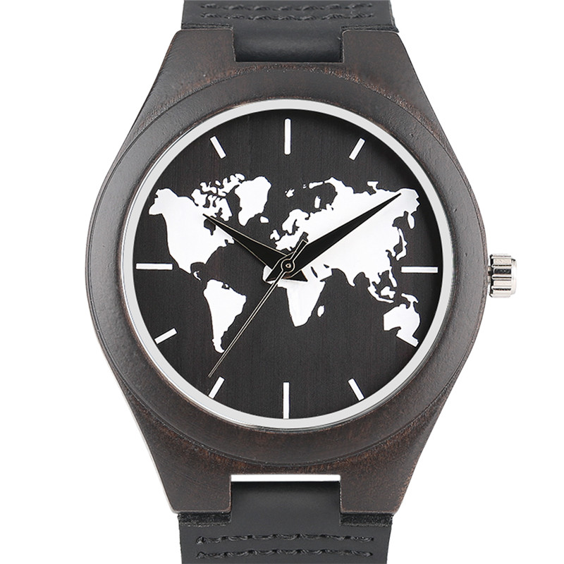 2018 new top nature wood mens quartz wrist watch world map pattern 2018 new top nature wood mens quartz wrist watch world map pattern dial stylish black genuine leather strap male wooden case in quartz watches from watches gumiabroncs Gallery