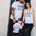 2017 New Boss Man Printed Family Look Matching Mother Daugther Father Son Short T shirt Baby Romper Outfits Clothing CE455