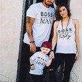2017 nuevo jefe hombre impreso juego mirada familia padre madre hija hijo corta camiseta trajes mameluco del bebé clothing ce455