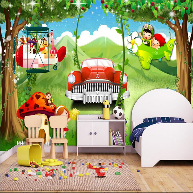 3D Wall Murals Forest Beauty Wallpaper Cartoon Green Wall Sticker Car Wallpaper Scenery Landscape Children Room Decor Wall Mural