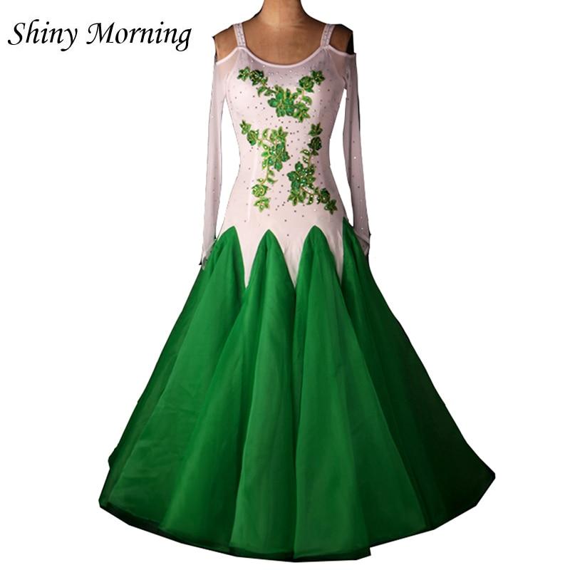 US $62.05 27% OFF|plus size green white Ballroom dancing dresses Viennese  standard ballroom dance dress ladies ballroom dance dresses-in Ballroom  from ...