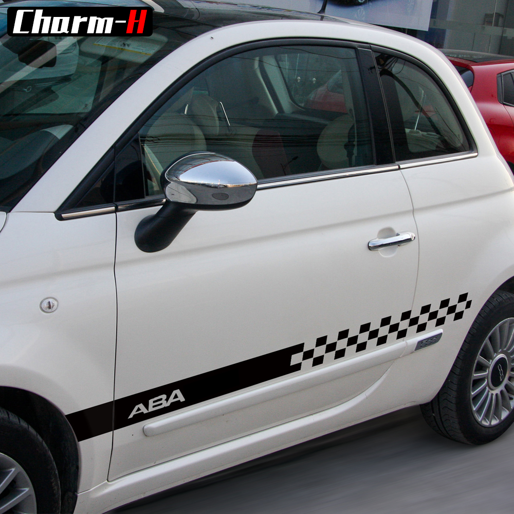 Fiat 500 Checkered Side Stripes Decals with 500//Fiat Graphics Kit 1