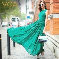 VOA Summer Sexy Casual Women Boho Dresses 2017 Fashion Silk Sleeveless Elegant Lace Splicing Beach Long Dress Vestidos A5353