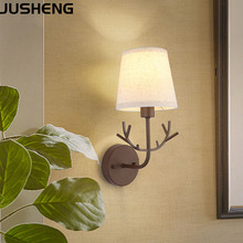 JUSHENG Modern Brown Wall lamp with plug in cord, E14 sorcket bedroom bedside fabric shade