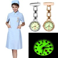 New Luminous Nurses Watches Doctor Clip On Fob Quartz Watch Steel Noctilucent Brooch Hanging Medical Crystal